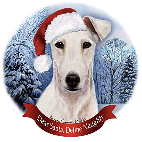 Holiday Pet Gifts Fox Terrier White Dog Santa Hat Porcelain Ornament ()