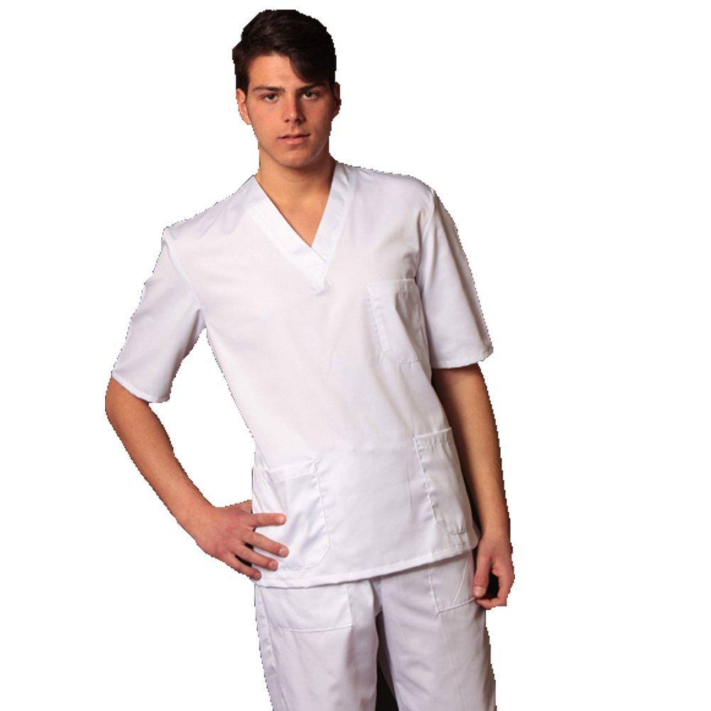 Completo divisa da infermiere bianco ospedaliero reparto cotone mezze maniche