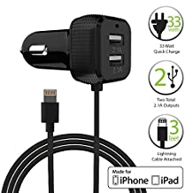 FosPower® [Apple MFI Certified] Dual USB Port (6.6A/33W) High Speed Car Charger with 8-Pin Lightning Adapter Cable for Apple iPhone, iPod, iPad / Samsung / HTC / Motorola / Sony / Blackberry / Nokia / LG Smartphones, Tablets and More (Black)