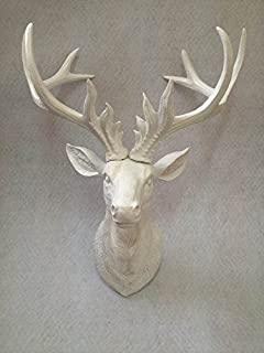 Charmant Resin Faux Antlers Wall Decor   White Deer Head Wall Hanging Sculpture