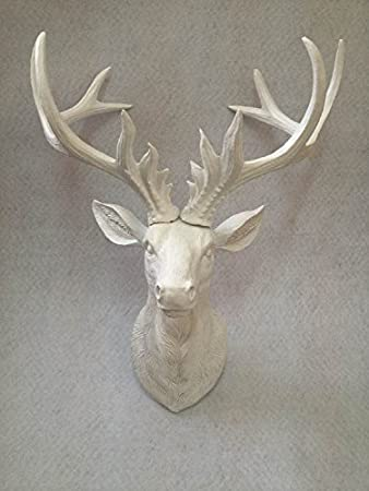 Resin Faux Antlers Wall Decor - White Deer Head Wall Hanging Sculpture