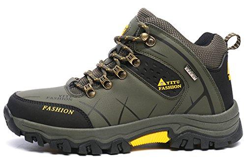 Men's Mid Hiking Boots Trekking Shoes Outdoor Sneakers Keep warm Green tOUeXuSs