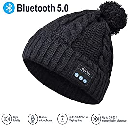 Bluetooth Hat Bluetooth Beanie Hat, Upgraded Bluetooth 5.0 Winter Music Hat, Women Winter Rib Knitted Bluetooth Hat/ Beanie Washable PomPom Bluetooth Beanie Women Gifts for Christmas Fit Outdoor Sport