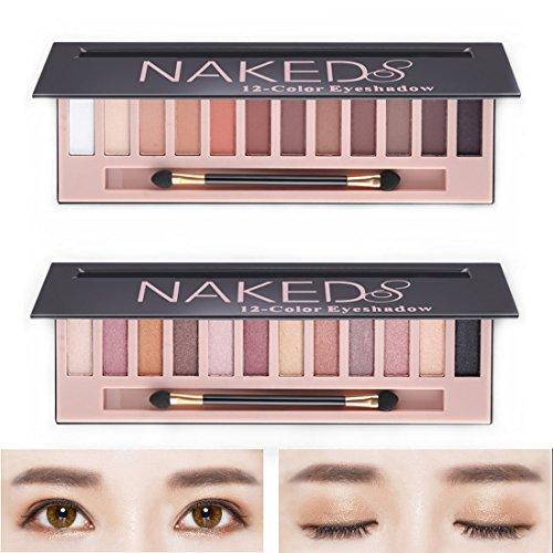 2Pack Naked Makeup Eyeshadow Palette Morphe 12 Color Natural Nude Matte Shimmer Glitter Pigment Eye Shadow Pallete Set Waterproof Natural Professional Cosmetic Makeup Kit
