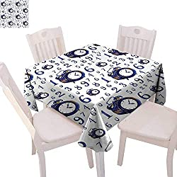 cobeDecor Clock Customized Tablecloth Watercolor Style Effect with an Alarm Clock Illustration Caligraphic Numbers Tablecloth That can be Used as a Tapestry 70x70 Blue and White