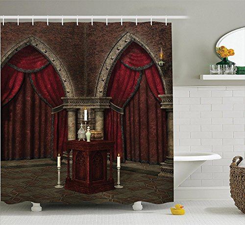 [Gothic House Decor Shower Curtain Set Mysterious Dark Room in Castle Ancient Pillars Candles Spiritual Atmosphere Pattern Bathroom Accessories Ruby] (Camper Gothic Costumes)