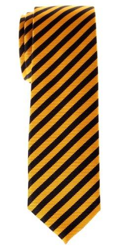 - Retreez Stripe Woven Skinny Tie - Yellow and Black Stripe