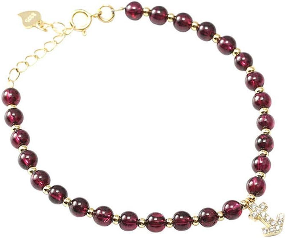 LQHXY S925 Pulsera De Plata Granate con Perlas De Flecha Pulsera De Mujer
