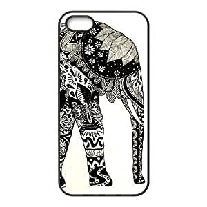 DIY Cover Case with Hard Shell Protection for Iphone 5,5S case with Elephant Art on Aztec lxa#429877
