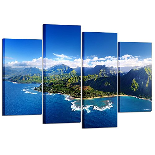 Kreative Arts - Beautiful Aerial View of Spectacular Na Pali Coast Kauai Canvas Prints Wall Art 4 Pieces Blue Sky Hawaii Islands Nature Painting Modern Artwork Contemporary Pictures for Office Decor