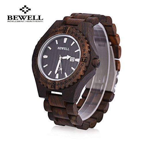 Bewell Zs   W023a Men Wooden Bangle Quartz Watch With Date Display Brown