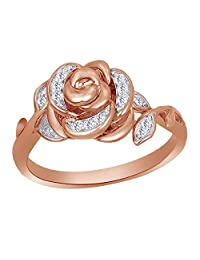 Round Cut White Natural Diamond Rose Ring in 10K Solid Gold (1/10 Cttw)