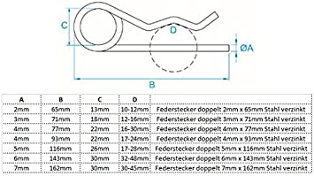 verzinkt 5,0mm 2 St/ück Federsplinte Federstecker Federvorstecker DIN 11024 einfach