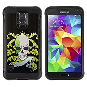 Pulsar Defender Series Tpu silicona Carcasa Funda Case para SAMSUNG Galaxy S5 V / i9600 / SM-G900F / SM-G900M / SM-G900A / SM-G900T / SM-G900W8 , Funny Pirate Skull Flag