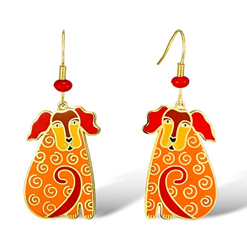 Santuzza Gold Plated Brass Earrings Handmade Enamel Poodle Dog Hook Earrings