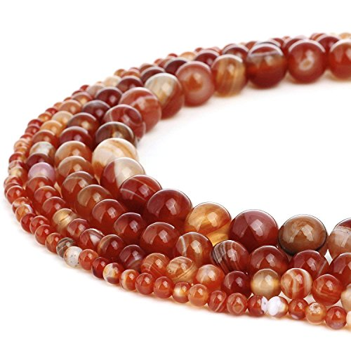 8mm Round Red Banded Agate Beads Semi Precious Gemstone Beads for Jewelry Making Strand 15 Inch (47-50pcs)