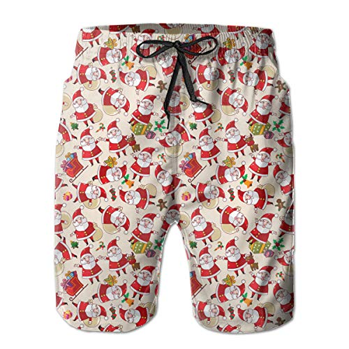 Feimao Christmas Santa Claus Motif Men's Beach Shorts Summer Casual Swim Trunk with Pockets White]()