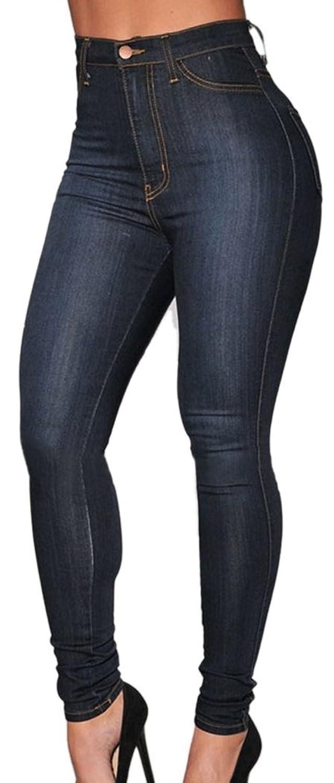 149f2e96d8ad durable modeling PEGGYNCO Womens Blue Medium Wash Denim High-Waist Skinny  Jeans