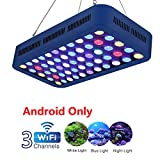 TOPLANET 165W WiFi/Dimmable Control Aquarium LED Lights, 3 Channels Fish Tank Lamp for Plant Coral Reef Fish Growth, Large Angle LED Light for 55-75 Gallon Aquarium Kit