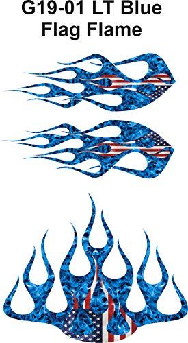 Wild Dingos LLC ST2 - Multi-Color Flame Decal Kit Golf Cart, UTV, RC, ATV, ROXOR, Tank, Motorcycle (A - X-Large, G19-01 LT Blue Flag)