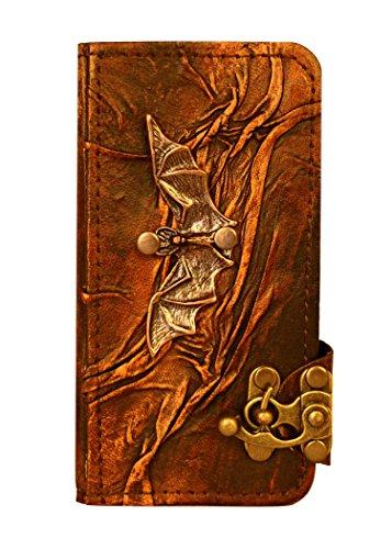 """A Little Present """", handgemacht, Vintage-Stil, mit Anhänger"""" Fledermaus """"Leder Flip Case Cover Tasche mit Schloss für iPhone 6, Braun"""