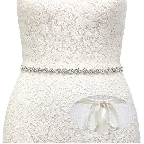 SWEETV Rhinestone Bridal Belt Wedding Dress Belt Sash Crystal Headband for Bride Bridesmaid, Silver