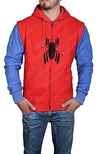 Spider Man Hood Jacket Red Logo Homecoming Costume Detachable Sleeves Hoodie (XL, Red and Blue)