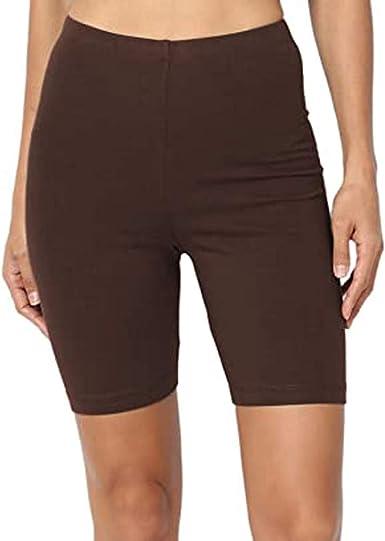 Pantalones Cortos Yoga Mujer Cintura Alta, Color SóLido Deporte Yoga Leggings Medio Muslo Stretch Span Pantalones Cortos De AlgodóN De Cintura Alta: Amazon.es: Ropa y accesorios