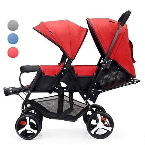 Double Stroller – Tandem Pushchair – Sibling pram – Twin Baby Carriage – Light Compact Strollers Stroller – Folding Stroller Umbrella – Reclining seat – from Baby to Toddler