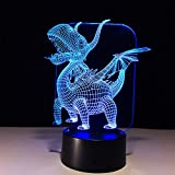 MIAO 3D LED Illusion Night Light Small Fire Dragon 7 Color Change Touch USB Powered Acrylic Panel Desk Lamp Creative Gift