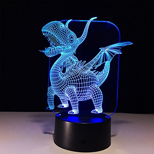 MIAO 3D LED Illusion Night Light Small Fire Dragon 7 Color Change Touch USB Powered Acrylic Panel Desk Lamp Creative Gift by MIAO