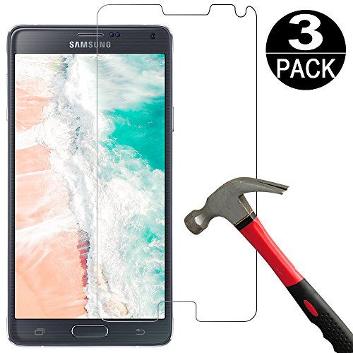 [3 Pack] Samsung Galaxy Note 4 Screen Protector Tempered Glass,Coolpow[9H Hardness][Ultra Clear][Anti Scratch][Bubble Free] HD Clear Tempered Glass Screen Protector Film for samsung galaxy note (Best Galaxy Note 4 Screen Protectors)