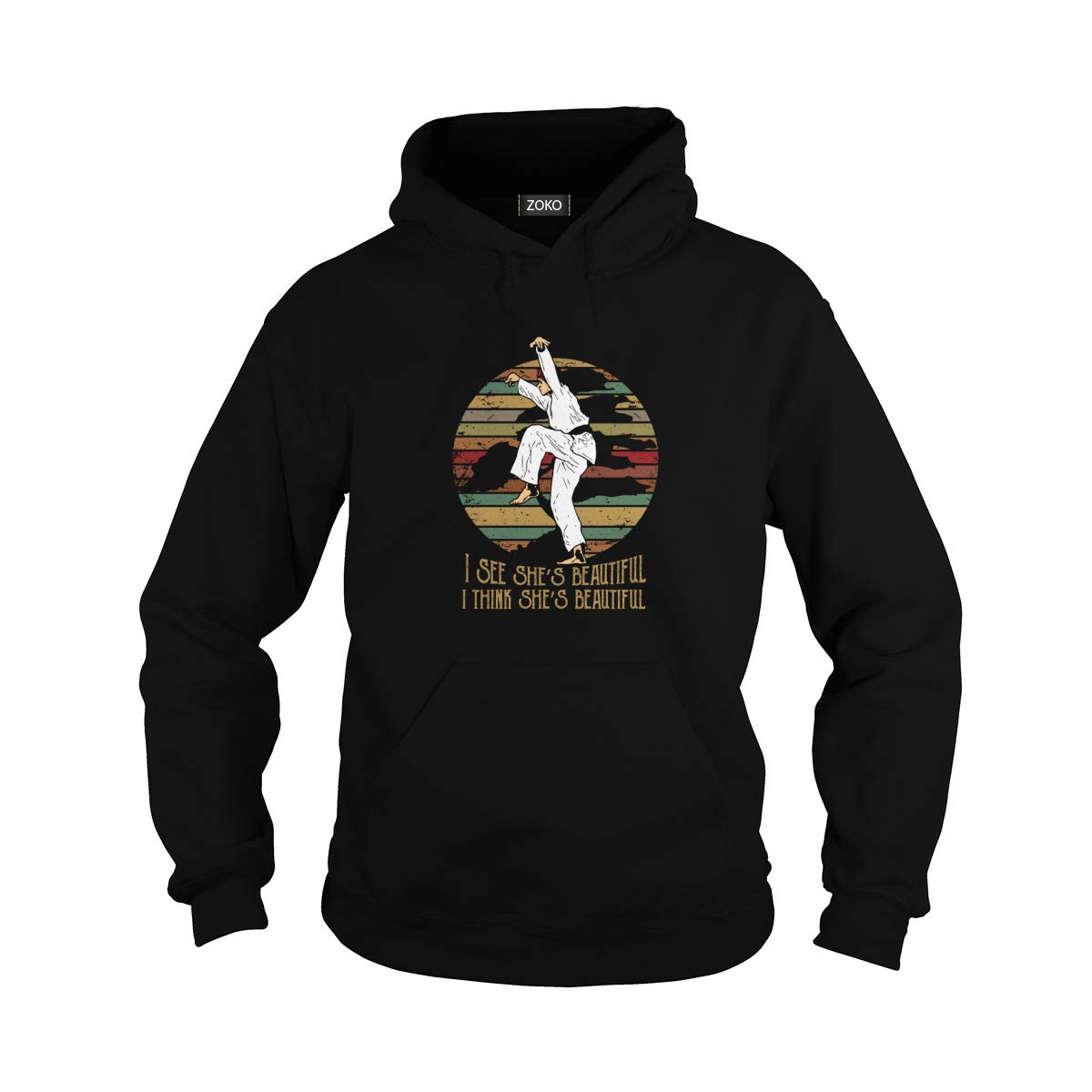 Unisex I See She's Beautiful Vintage Adult Hooded Sweatshirt (3XL, Black) by Zoko Apparel
