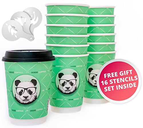Disposable Coffee Cups with Lids (50 Count) | SPECIAL GIFT INSIDE - 16 Barista Coffee Stencils | 12 Ounce | Double Walled, Reusable, Recyclable, Insulated, Leak-Proof, Perfect Lids For Travel