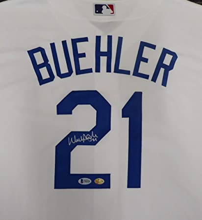 Los Angeles Dodgers Walker Buehler Autographed White Majestic Cool Base  Jersey Size XL Beckett BAS dd8c32a9b84