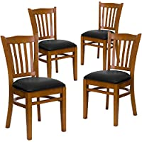 Flash Furniture 4 Pk. HERCULES Series Vertical Slat Back Cherry Wood Restaurant Chair - Black Vinyl Seat
