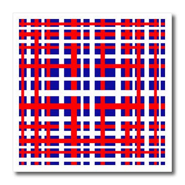 3dRose BlakCircleGirl - Holiday - Patriotic Plaid - Fun and bold striped design in red white and blue weave - 10x10 Iron on Heat Transfer for White Material (ht_286908_3) - Shirt Print Weave Basket