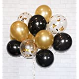 "HomyBasic Gold Confetti 12"" Latex Balloons SET 40 FREE Blow helper + Ribbon for Parties, Anniversaries, Weddings, Decoration, Supply (Gold, Black, Clear With Gold Confetti Balloon)"