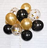 "Arts & Crafts : Gold Confetti 12"" Latex Balloons SET 40 + FREE Blow helper. Top Quality for Parties, Anniversaries, Weddings, Decoration, Supply (Gold, Black, Clear With Gold Confetti Balloon)"