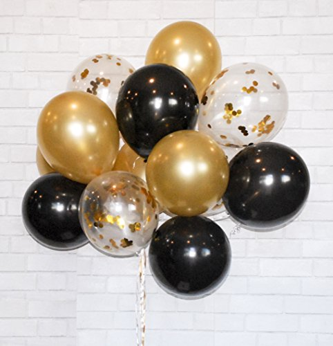 Find Bargain HomyBasic Gold Confetti 12 Latex Balloons SET 40 FREE Blow helper + Ribbon. Top Qualit...