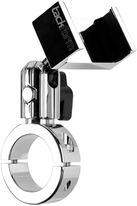 Tackform Enduro Series Chrome Motorcycle Phone Mount for 1.5 Inch Diameter Handlebars - ALL METAL CONSTRUCTION