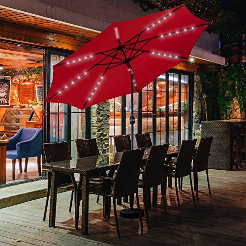 Wonlink 10ft Solar Patio Umbrella with 40 LED Lights, Table Umbrella w Tilt Adjustment,8 Sturdy Ribs,Perfect for Garden, Deck, Backyard, Pool Indoor Outdoor Use