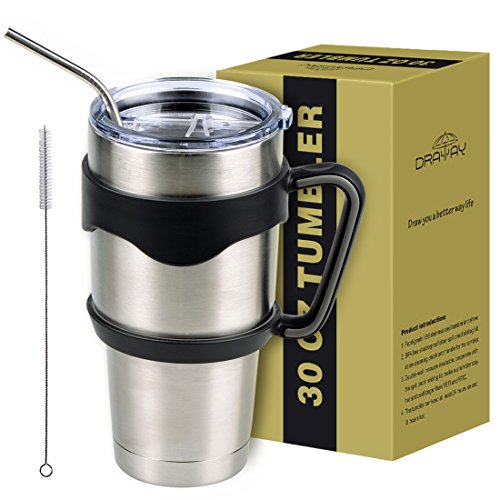 Stainless Steel Tumbler, Double Wall Vacuum Tumbler Sets With Lid and Straw 30Oz Draway Travel Insulated Mugs