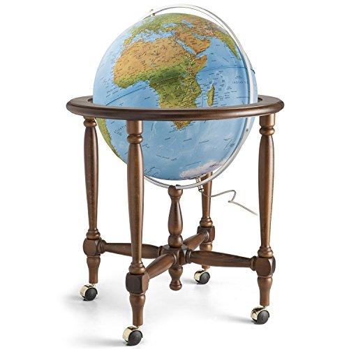 """Waypoint Geographic Monaco 20"""" Globe with Metal Meridian and Regal Wood Stand with Casters (Political) World, Blue, 25.4 Lb"""