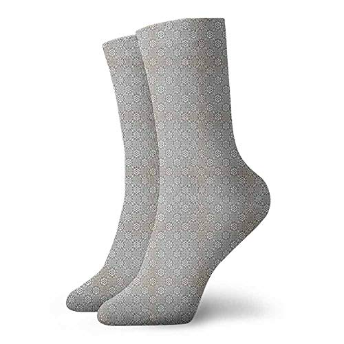 Square Floral Fusion (Personality socks Floral Pattern with Monochrome Lines and Squares Geometric Arrangement Sports, travel)