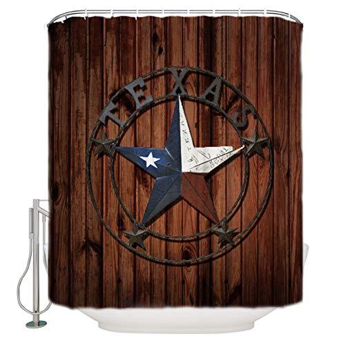 SUN-Shine Custom Western Texas Star Waterproof Polyester Fabric Shower Curtain Country Rustic Wooden Board Bathroom ()
