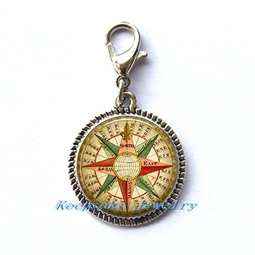 Antique Wind Rose compass Zipper Pull, Perfect for Necklaces, Bracelets , keychain and earrings Charm planner charm compass handmade Jewelry-a0224 (Rose Antique Urn)