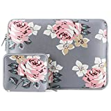 MOSISO Laptop Sleeve Compatible 13 Inch New MacBook Pro Touch Bar A1989 & A1706 & A1708 2018 2017 2016, Surface Pro 2017, Dell XPS 13, Water Repellent Lycra Rose Pattern Bag with Small Case, Gray