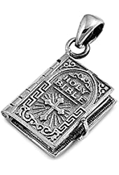 .925 Sterling Silver Holy Bible Christian Gift Pendant