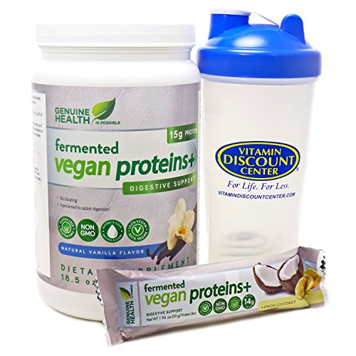 Bundle- 3 Items: 1 Genuine Health Fermented Proteins Plus Vanilla 24 Serving, 1 Fermented Protein Bar and 1 VDC Shaker Cup For Sale